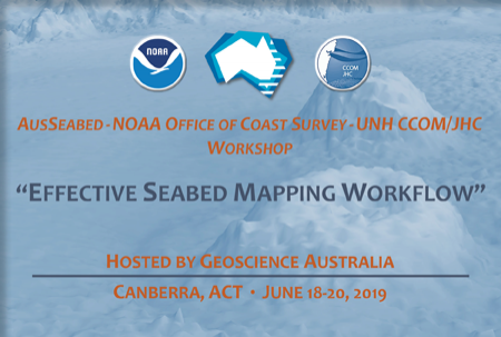 NOAA, Geoscience Australia, and CCOM logos with workshop hosts, title, place and date overlaying seafloor image in blue duotone.