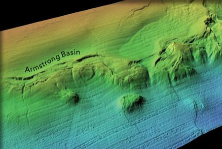 Colored bathymetric map showing the Armstrong Basin.