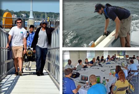 Images from the AUV Bootcamp: carrying the GAVIA AUV up the ramp at the pier, launching the AUV over the side of the survey vessel, the group looking at the data on laptops around a large table under the tent.