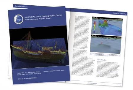 Cover and open spread of the executive summary. The cover shows an image of a sunken ship.