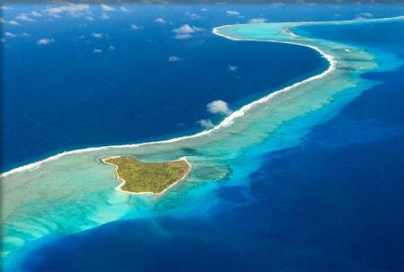 Aerial view of Bikini Atoll.