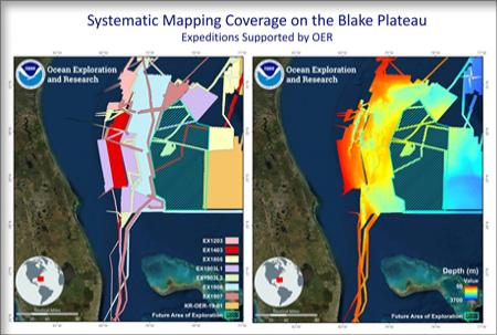 Mapping data of Blake Plateau off US southeast coast. Image on left displays areas addressed by individual cruises; image on right displays an overview of the bathymetric data collected from 2012 to 2019. Image courtesy of NOAA OER.