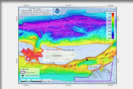Bathymetric map of the waters around Puerto Rico showing where the Okeanos will conduct operatons.