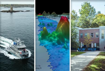 Three images showing the R/V GulfSurveyor from above, a bathymetric map of the ocean floor with colors showing depth, and the courtyard of Chase Ocean Eng. Bldg.