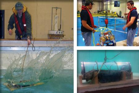 Images from ROV class testing their ROVs in the test tank.