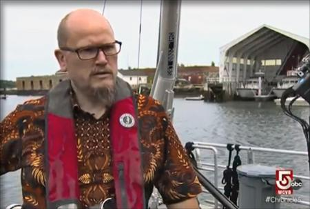 Semme Dijkstra being interviewed while on the deck of the Gulf surveyor.