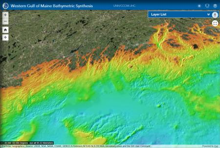 Image showing satellite image of the New England coastline with color gradients showing ocean depth.