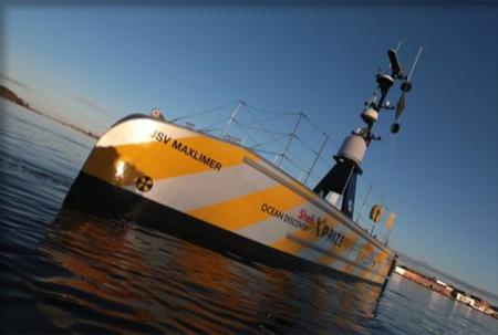 Photo of the ASV Maxlimer on still water.
